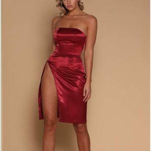 Meshki Alayna Satin Mini Dress Burgundy NWT